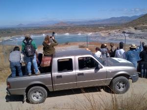 The Observation Mission views the Fortuna Silver tailings dam near San Jose del Progreso, November 2012. Photo courtesy Rabble.ca