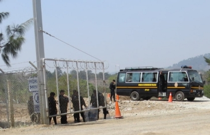 Security at the Escobal project site, mid April 2013. Credit: Resistencia Pacifica El Escobal / Upside Down World