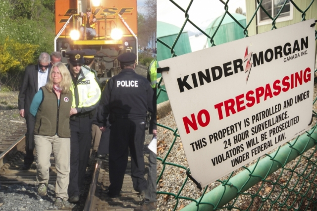 SFU Professor Lynne Quarmby Kinder Morgan blockade arrest w3000